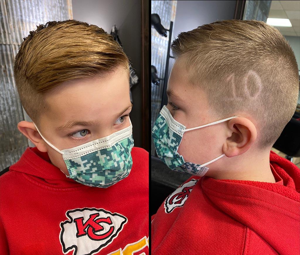 Little Boys haircut with design.