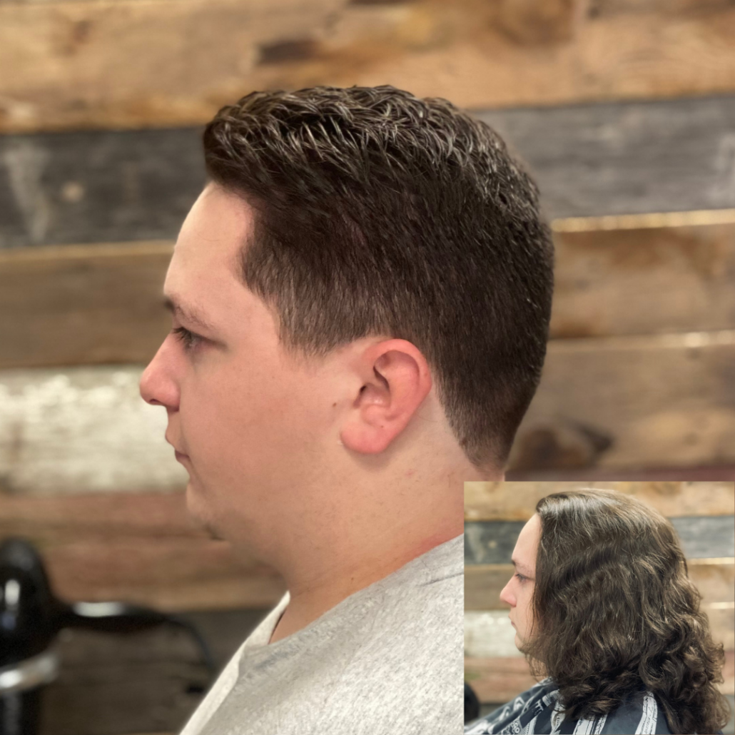 Before and after men's haircut. Long to short hair.
